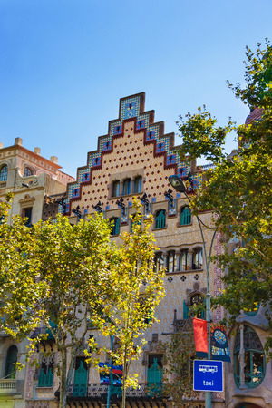 discord: Barcelona, Spain - August 14, 2011: Casa Amatller in Modernisme style in the block of Discord in the Eixample district in Barcelona, Spain. It was designed by Josep Puig i Cadafalch