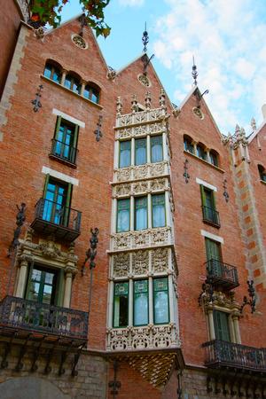josep: Windows of Casa Terrades in Modernisme style in Avinguda Diagonal of Barcelona, Spain. It was designed by Josep Puig i Cadafalch Editorial