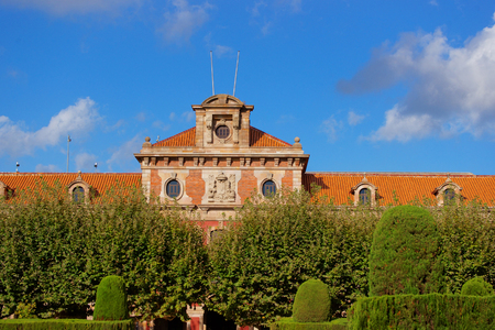 Parliament of Catalonia in Park Citadel in Barcelona, Spain. The Park is also called Ciutadella Park. Barcelona is the capital of Catalonia Stock Photo