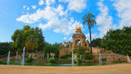 quadriga: Cascade Fountain in the Park Citadel in Barcelona, Spain. The Park is also called Ciutadella Park. Barcelona is the capital of Catalonia. Selective focus