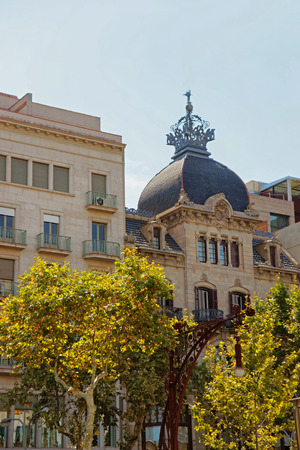 crown spire: Casa Malagrida Building on Passeig de Gracia in the Eixample district in Barcelona, Spain.