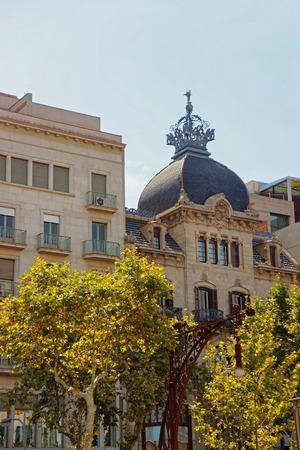 crown spire: Casa Malagrida Building on Passeig de Gracia in the Eixample district in Barcelona, Spain.