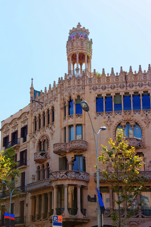 Casa Lleo Morera in Modernisme style in the block of Discord in the Eixample district of Barcelona, Spain. It was designed by Lluis Domenech i Montaner