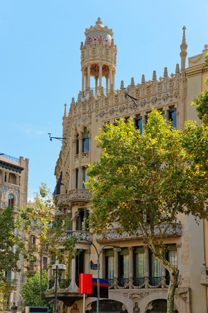 Casa Lleo Morera in Modernisme style in the block of Discord in  Eixample district of Barcelona, Spain. It was designed by Lluis Domenech i Montaner Stock Photo