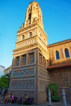 spanish village: Barcelona, Spain - August 16, 2011: Torre de Utebo of Aragon in Spanish Village on the Montjuic in Barcelona, Spain. It is an architectural museum and is also called Poble Espanyol, or Spanish town.
