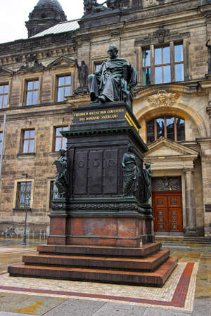 frederick street: Statue of Frederick Augustus of Saxony near the Court of Appeal in Dresden in Germany. View from the street. Dresden is the capital of Saxony. Editorial