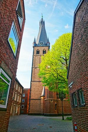 rhine westphalia: Saint Lambertus Basilica in the Old city center of Dusseldorf in Germany. It is the capital of Rhine Westphalia region. Stock Photo