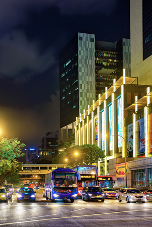 cross street: Singapore, Singapore - March 1, 2016: Upper Cross street with car traffic in China town in Singapore. At night