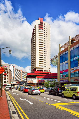 Singapore, Singapore - March 1, 2016: Upper Cross street with car traffic in China town, in Singapore.