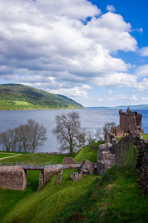loch ness: Grand Tower of the Urquhart Castle in Loch Ness of Scotland. Loch Ness is a city in the Highlands in Scotland in the United Kingdom.