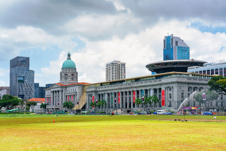 cricket field: Singapore, Singapore - March 1, 2016: Old Supreme Court and National Gallery in Singapore. View from Padang, former cricket field Editorial