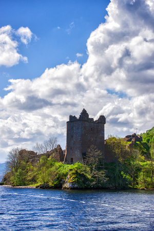 loch ness: Grand Tower of the Urquhart Castle in Loch Ness in Scotland. Loch Ness is a city in the Highlands in Scotland in the United Kingdom.