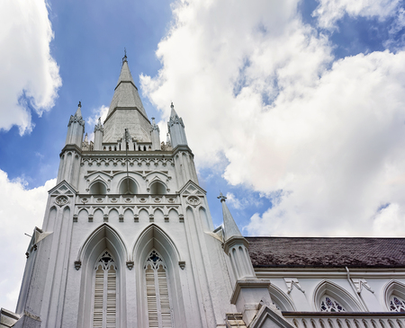 anglican: Detail of main steeple of St Andrews Cathedral in Singapore. It is an Anglican church.