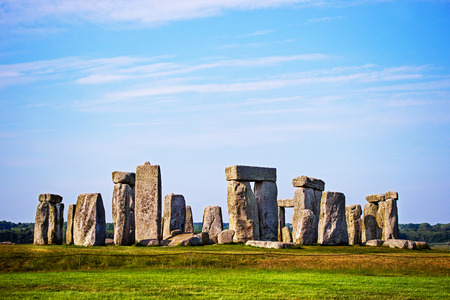 Stonehenge in Wiltshire in Great Britain in cloudy weather. It is a prehistoric monument, in Wiltshire in South West England.