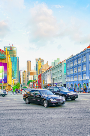 cross street: Singapore, Singapore - March 2, 2016: Upper Cross street with car traffic in China town in Singapore. Editorial