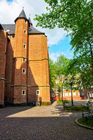 rhine westphalia: St Lambertus Basilica in the Old city center in Dusseldorf in Germany. It is the capital of Rhine Westphalia region.