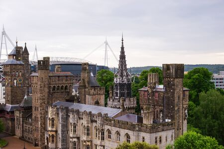 Main range of Cardiff Castle, in Cardiff in Wales of the United Kingdom. Cardiff is the capital of Wales.