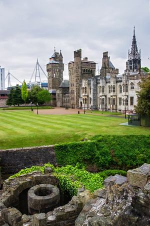 Main range of Cardiff Castle in Cardiff in Wales of the United Kingdom. Cardiff is the capital of Wales.