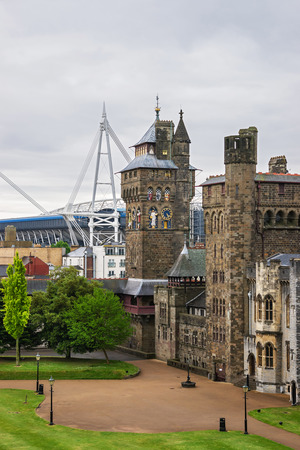 Main range of Cardiff Castle in Cardiff in Wales, the United Kingdom. Cardiff is the capital of Wales.