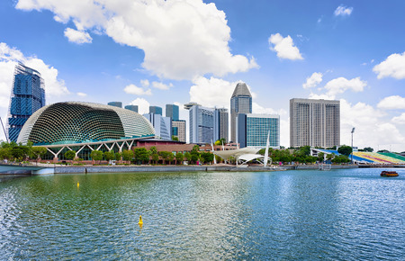 Esplanade - Theaters on the Bay. Skyline in Downtown Core at Marina Bay in Financial Center in Singapore. Editorial