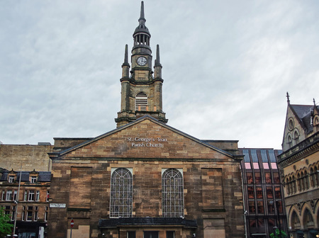 St George Tron Church in the Old City of Glasgow. Glasgow is the city in the Lowlands in Scotland in the United Kingdom. Stock Photo