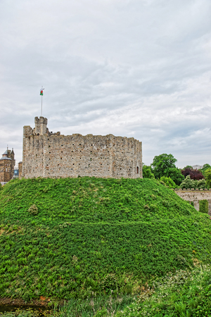 Watch Tower with a flag in Cardiff Castle in Cardiff in Wales of the United Kingdom. Cardiff is the capital of Wales. Editorial