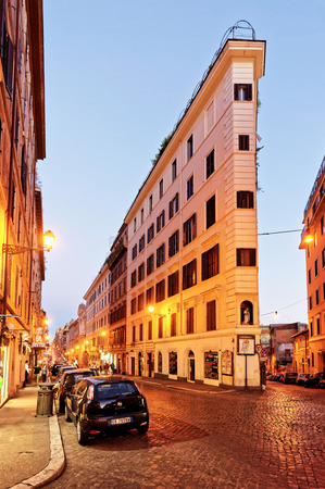 Rome, Italy - August 28, 2012: Narrow street at the Square of Spain in Rome, the capital of Italy. Late at night Editorial