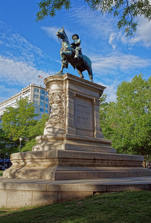 Statue of general Winfield Scott Hancock is located in Washington D.C., USA. It is made of bronze by Henry Jackson Ellicott together with architect Paul J. Pelz. It was opened on May 12, 1896.