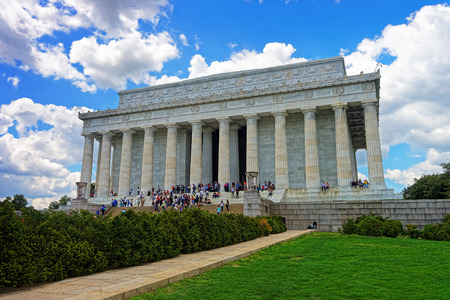Abraham Lincoln Memorial near the National Mall. Since the opening in 1922 it was always one of the main tourist attractions in the whole United States.