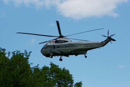 possibly: Helicopter was flying near the White House in Washington D.C., USA. The helicopter has an inscription United States of America. Possibly belongs to the US President office.