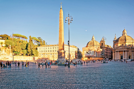 Rome, Italy - August 27, 2012: Tourists at the Piazza del Popolo in Rome in Italy