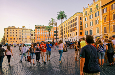 spagna: Rome, Italy - August 28, 2012: Tourists and Square of Spain in Rome, the capital of Italy. It is also called Piazza di Spagna. Editorial