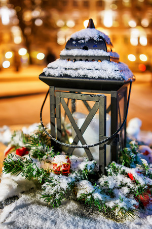market place: Snowy lantern composition on the Christmas Market in Vilnius, Lithuania. The annual market take place from the beginning of December and lasts till the start of January.