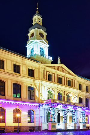 rebuilt: Look at the Riga City Council during the night in the center of the old town in Riga, Latvia. It locates on the main square in the center of the old town. Current building was rebuilt in 2003.