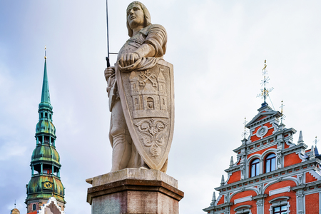 Statue of Roland on the square in old town of Riga, Latvia. It is knight with a drawn sword which symbolizes freedom of the city and usually locates on the market square or in front of the city hall.