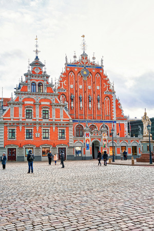 Riga, Latvia - December 26, 2015: Square and the House of the Blackheads in the center of Riga, Latvia. It is called Brotherhood of Blackheads. Editorial