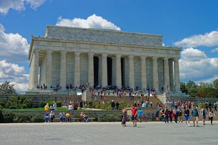 Washington D.C., USA - May 2, 2015: Plenty of tourists are seen near the Lincoln Memorial near the National Mall. The memorial is one of the main democratic symbols in the United States. Editorial