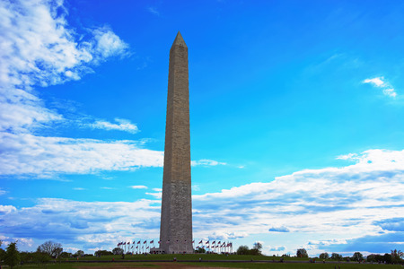obelisk stone: Washington DC, USA - May 2, 2015: Washington monument was pictured with the incredibly beautiful sky in the background. The monument was officially opened October 9, 1888. Editorial