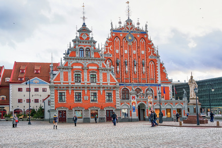 Riga, Latvia - December 26, 2015: House of the Blackheads and the square in front of it in the center of the old city in Riga, Latvia. It was dedicated to the guild called Brotherhood of Blackheads. Editorial