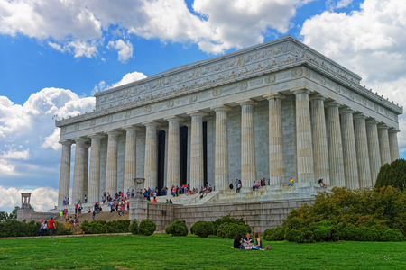abraham: Washington D.C., USA - May 2, 2015: People enjoy their free time and visit the Lincoln Memorial in Washington D.C., USA. It was built from 1914 to 1922. The architect of memorial was Henry Bacon.