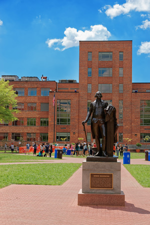 Washington D.C., USA - May 2, 2015: George Washington statue is located in university of his name. It was established on February 9, 1821. It is private research institution. Often referred to as GW.