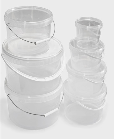 see through: See through plastic buckets isolated on the white background Stock Photo