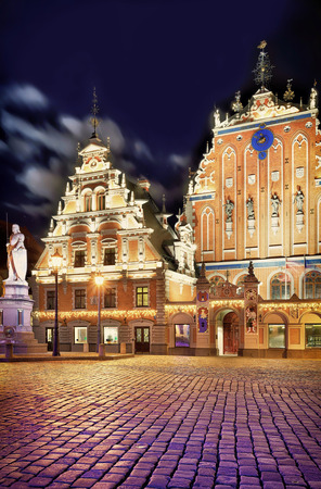 Night look at the famous House of the Blackheads in Riga, Latvia. The building was dedicated for the guild of unmarried German merchants in Riga called Brotherhood of Blackheads.