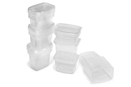 see through: See through plastic containers isolated on white background Stock Photo