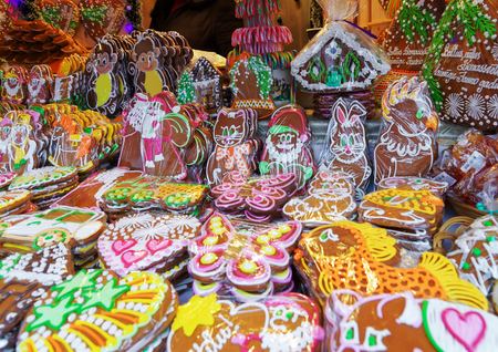 which one: One of the most traditional sweet treats which are gingerbreads pictured at Christmas Market in Riga in Latvia. They can be found in different sizes and icing.