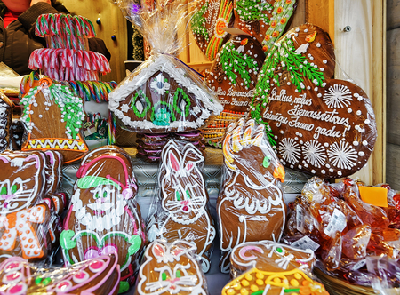 which one: One of the most traditional sweet treats which are gingerbreads pictured at the Christmas Market in Riga, Latvia. They can be found at different sizes and icing. Stock Photo