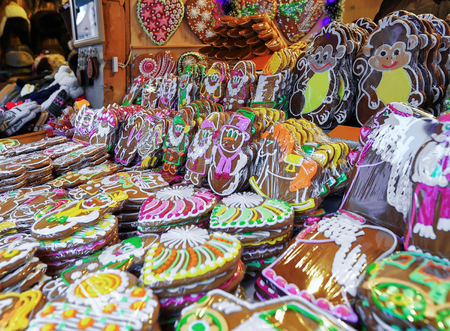 which one: Riga, Latvia: One of the most traditional sweet treats which are gingerbreads pictured at the Christmas Market in Riga, Latvia in the street. They can be found in different icing.
