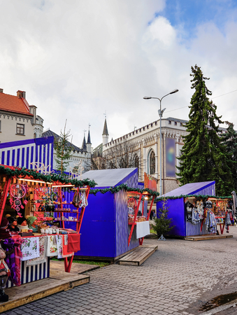 entertainment center: Christmas market located on the Livu square in the center of the old town in Riga, Latvia.