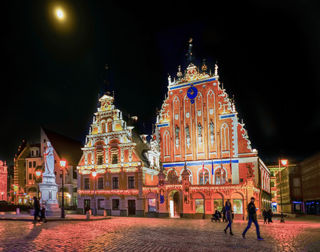 Riga, Latvia - December 24, 2015: House of the Blackheads during the Christmas  in Riga, Latvia at night. Editorial