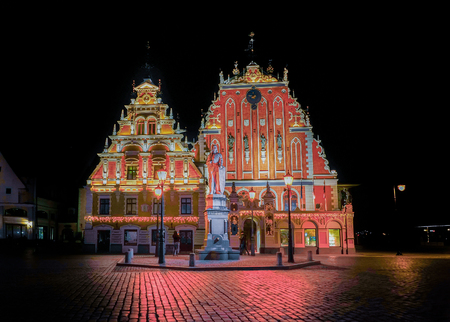 House of Blackheads during the Christmas  in Riga, Latvia at night. Editorial